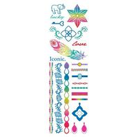 Iconic Colorful Metallic Jewelry Temporary Tattoo Set