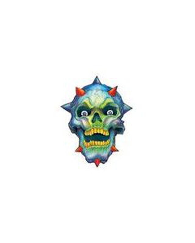 Spiked Skull with Devil Horns Temporary Tattoo image number null