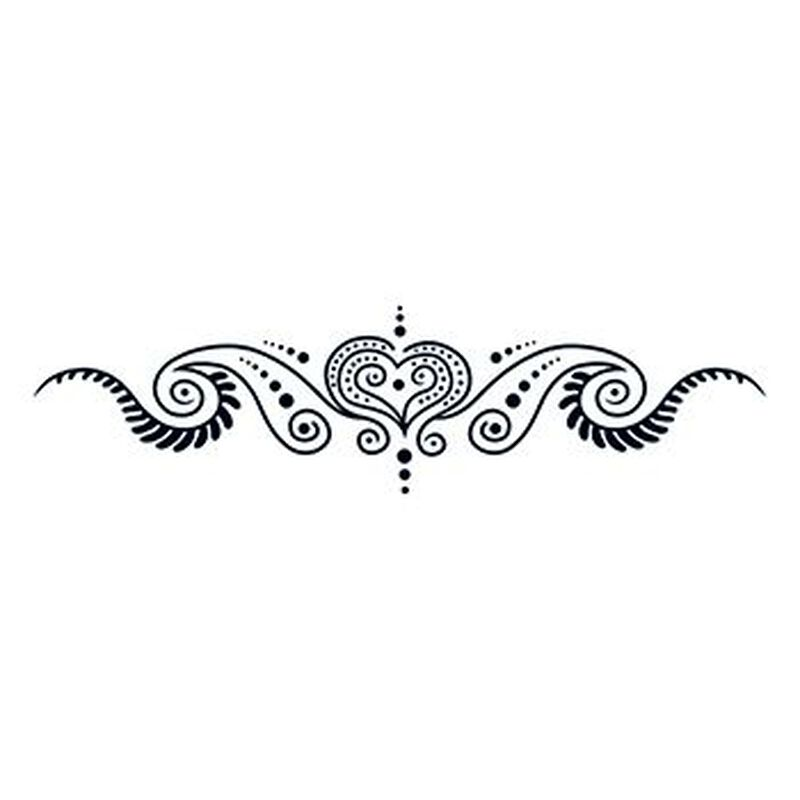 Henna: All Heart Lower Back Temporary Tattoo image number null