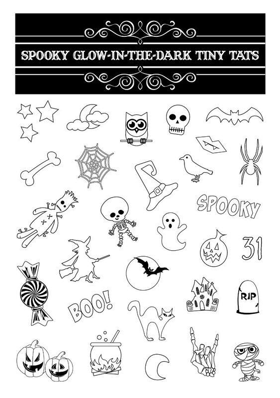 Spooky Glow-In-The-Dark Tiny Tats Temporary Tattoos image number null