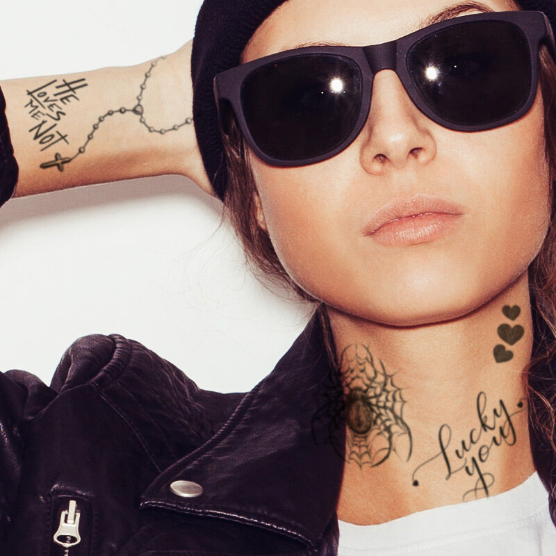 Black Ink Realistic Girl Face Costume Tattoos image number null