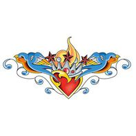 Crowned Heart with Sparrows Lower Back Temporary Tattoo