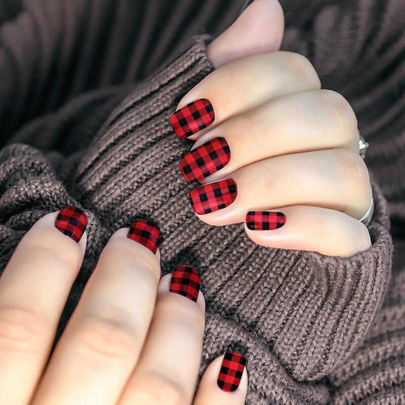 Buffalo Plaid Nail Temporary Tattoo In Use image number null
