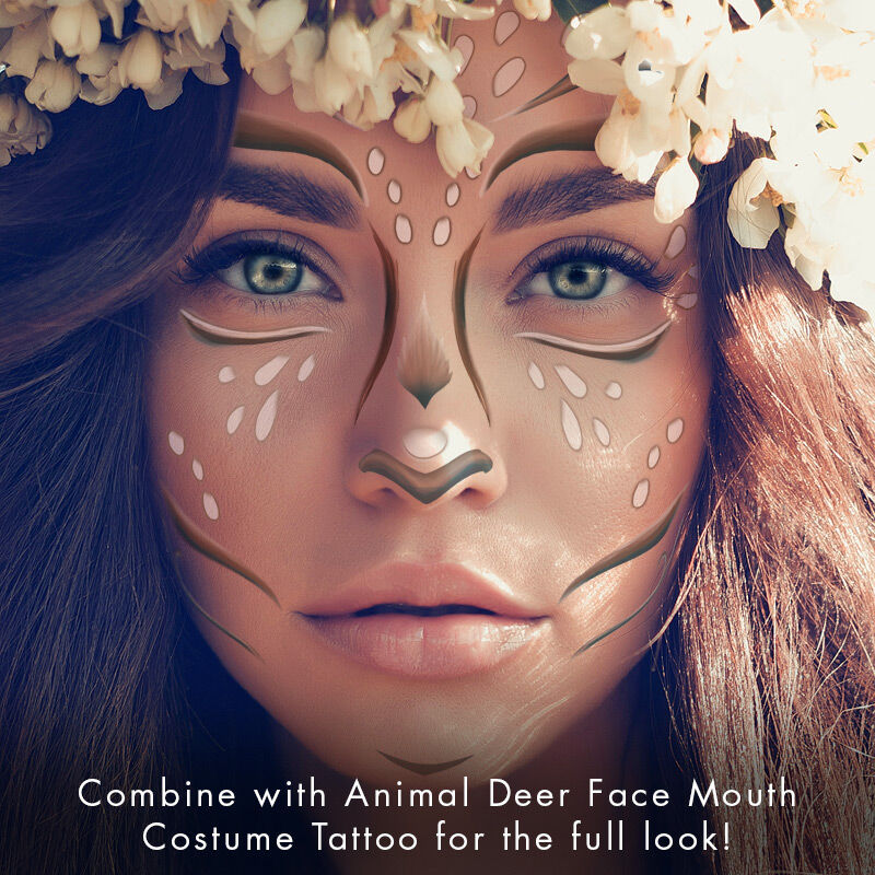 Animal Deer Face Mouth Temporary Tattoo image number null