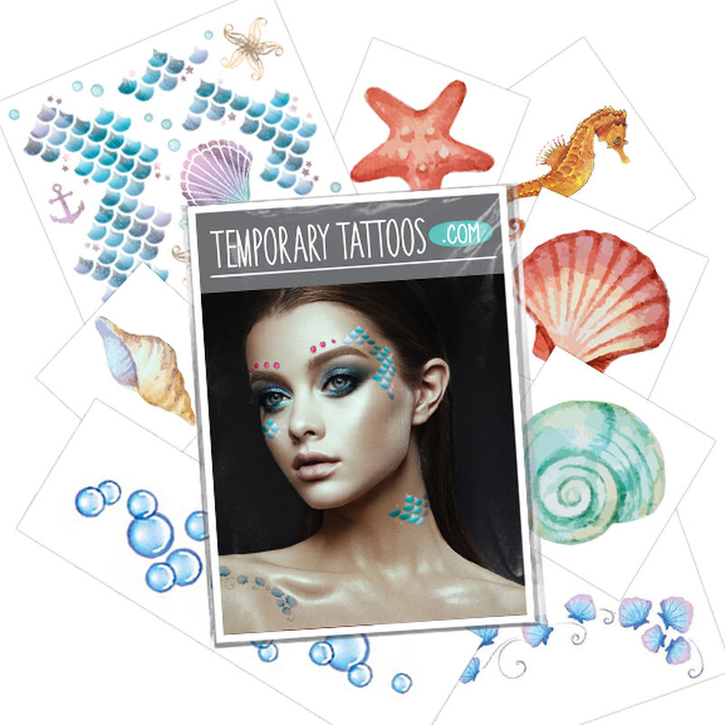 Mermaid Costume Pack Temporary Tattoos image number null