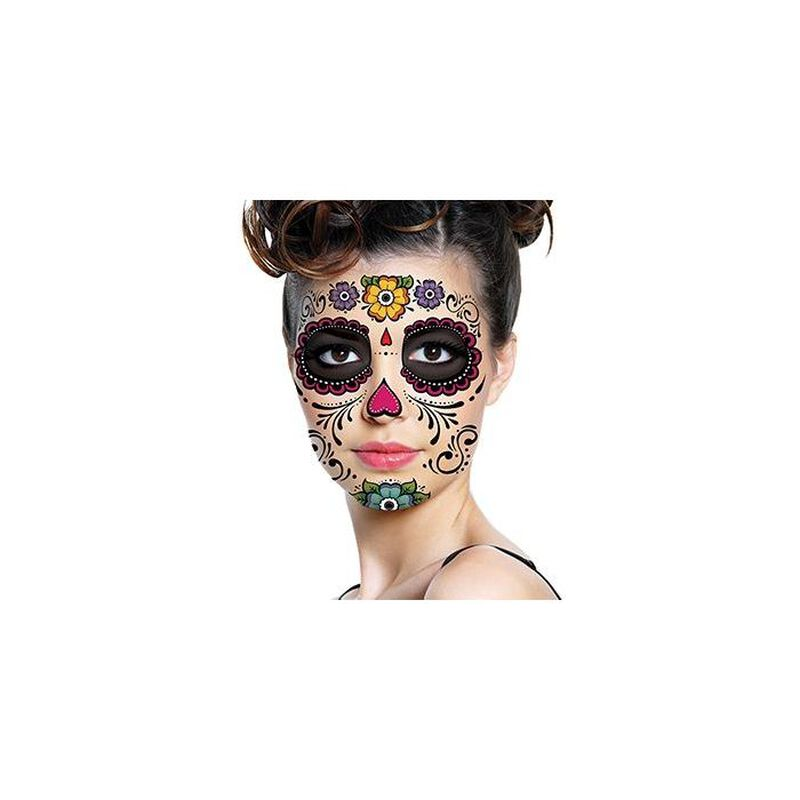 Day of the Dead: Floral Face Temporary Tattoo image number null