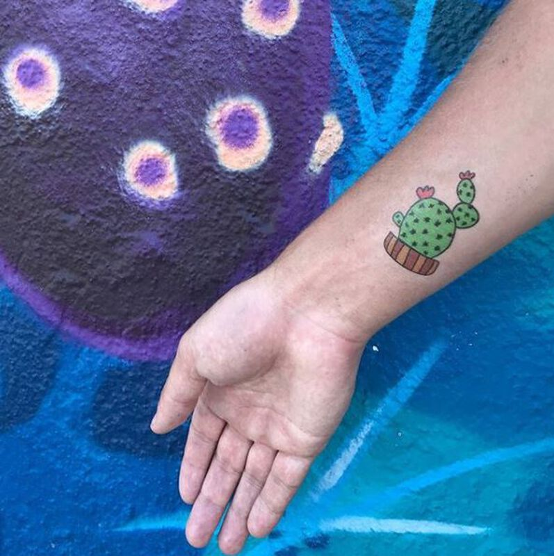 Cactus in Wooden Pot Temporary Tattoo image number null