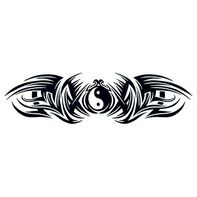 Tribal Duality Lower Back Temporary Tattoo