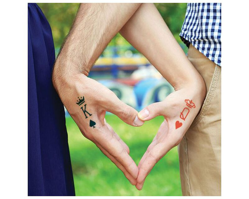 King & Queen Card Suit Temporary Tattoos image number null