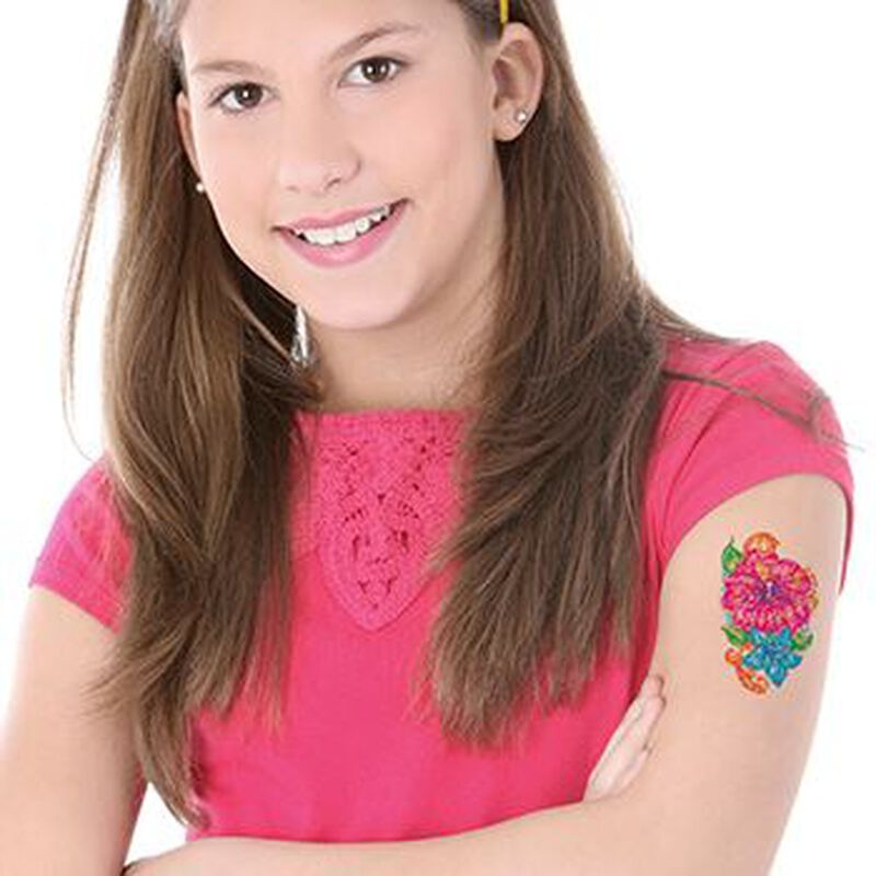 Glitter Pink Flower Temporary Tattoo image number null