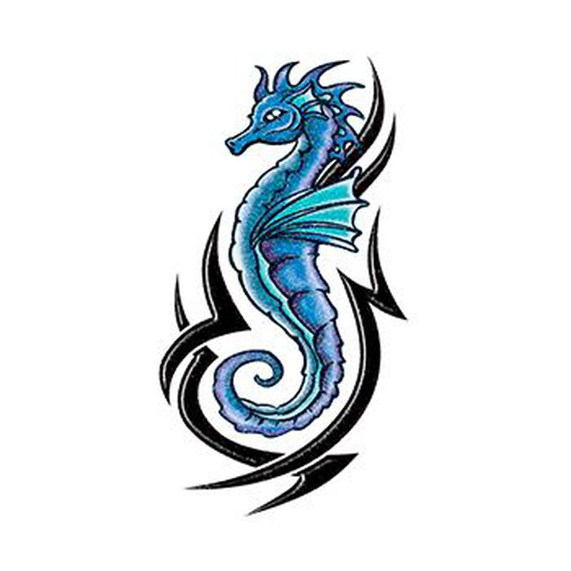 Glitter Blue and Black Tribal Seahorse Temporary Tattoo image number null