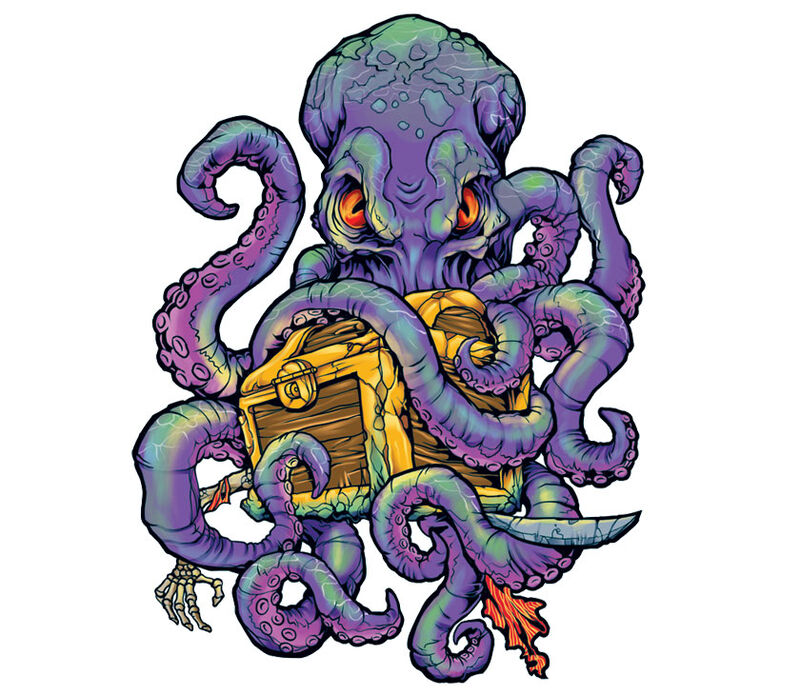 Octopus With Chest Temporary Tattoo image number null