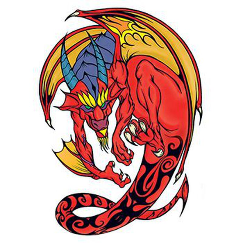Traditional Red and Yellow Dragon Temporary Tattoo image number null