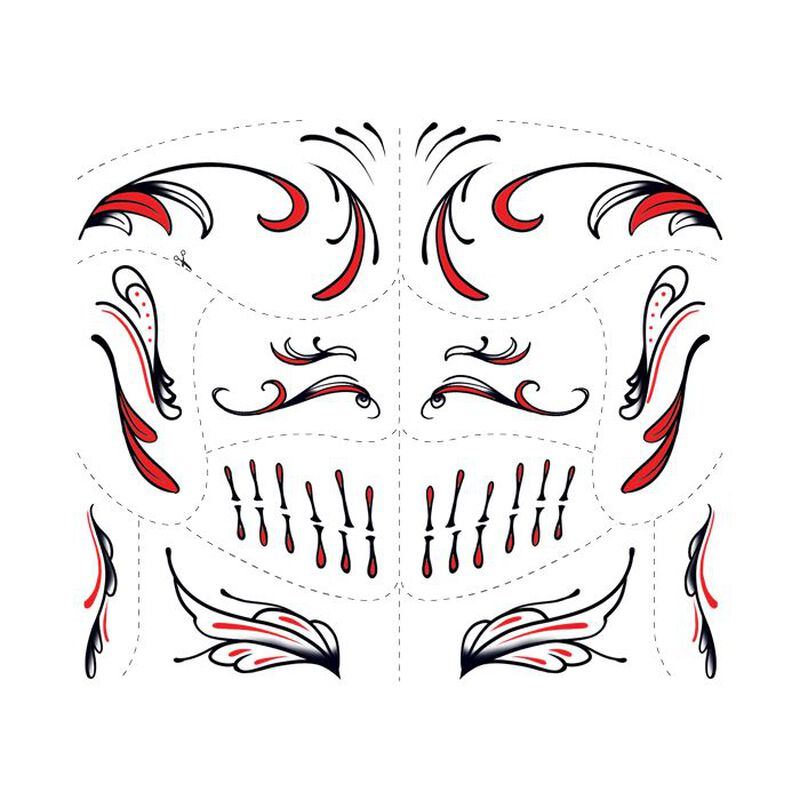Day of the Dead Red Accessory Temporary Tattoo image number null