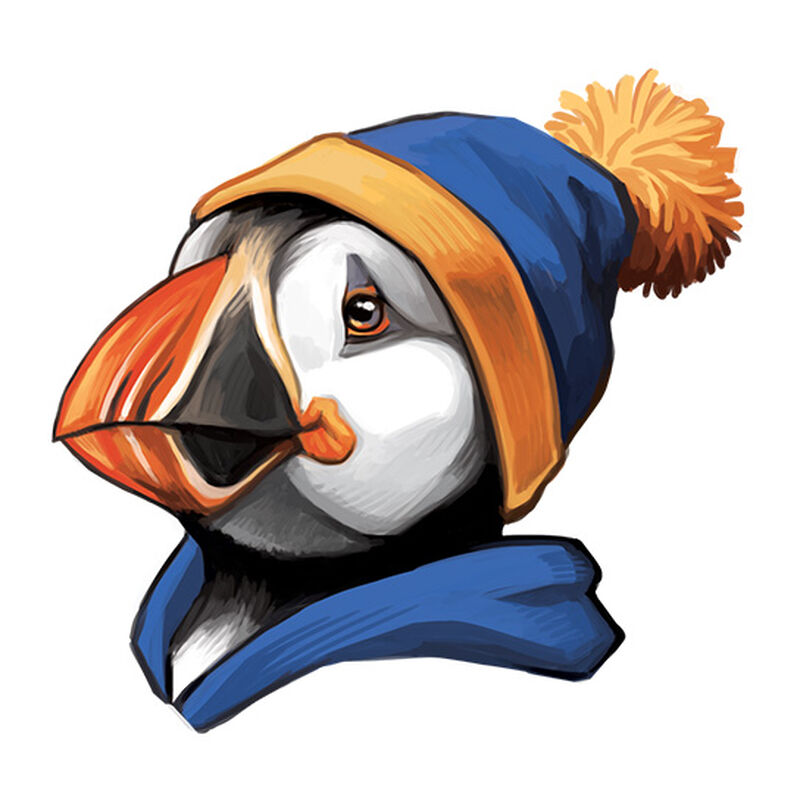 Hipster Puffin Temporary Tattoo image number null