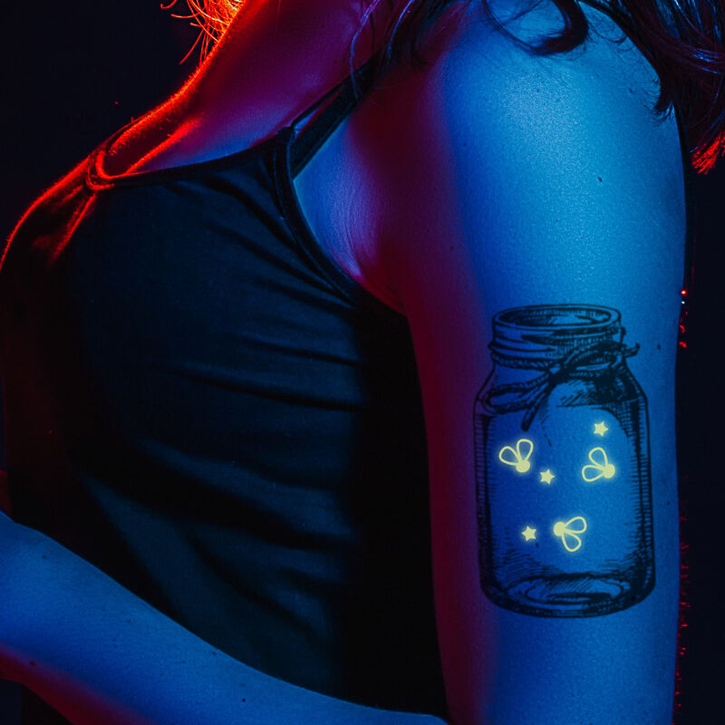 Mason Jar with Reveal Glow-in-the-Dark Fire Flies Temporary Tattoo image number null