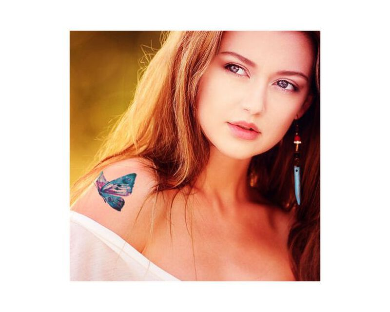 Galaxy Butterfly Temporary Tattoo image number null