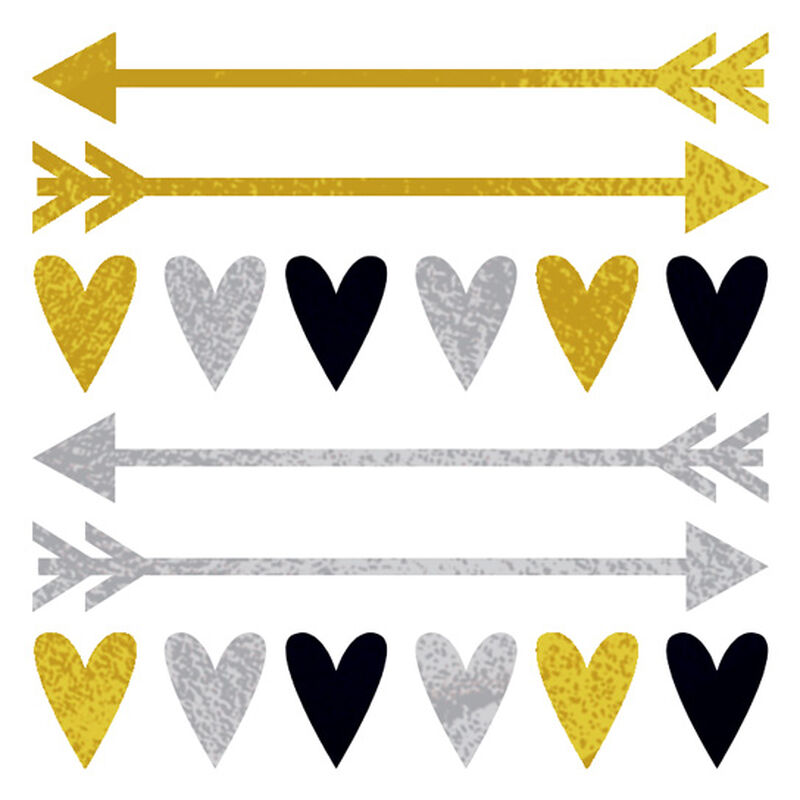 Metallic Hearts and Arrows Temporary Tattoos image number null