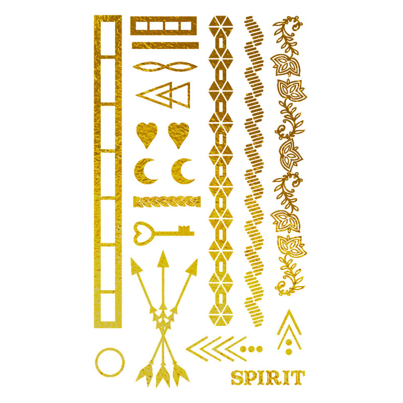 Metallic Gold Festival Collection Temporary Tattoos image number null