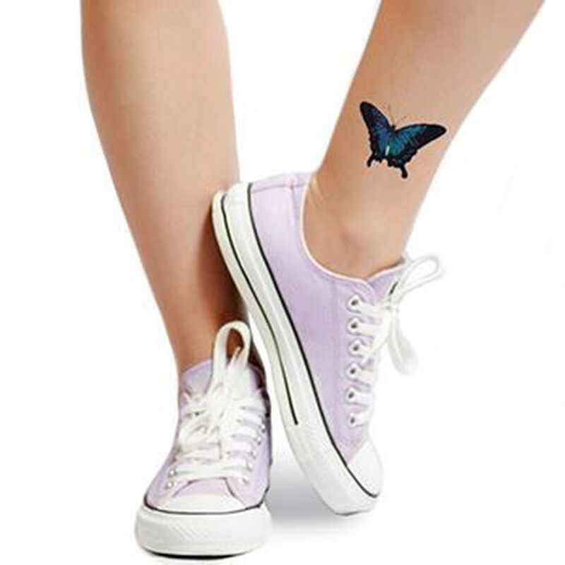 Sketched Blue Butterfly Temporary Tattoo image number null