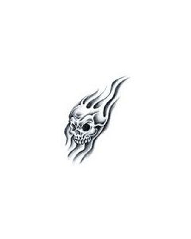 Flame Skull Temporary Tattoo image number null