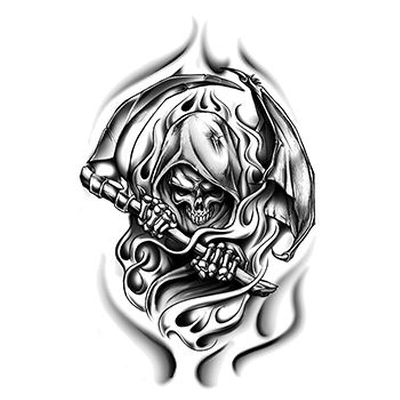Large Grim Reaper Temporary Tattoo image number null