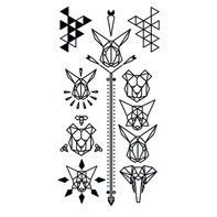Black Geometric Animal Temporary Tattoo