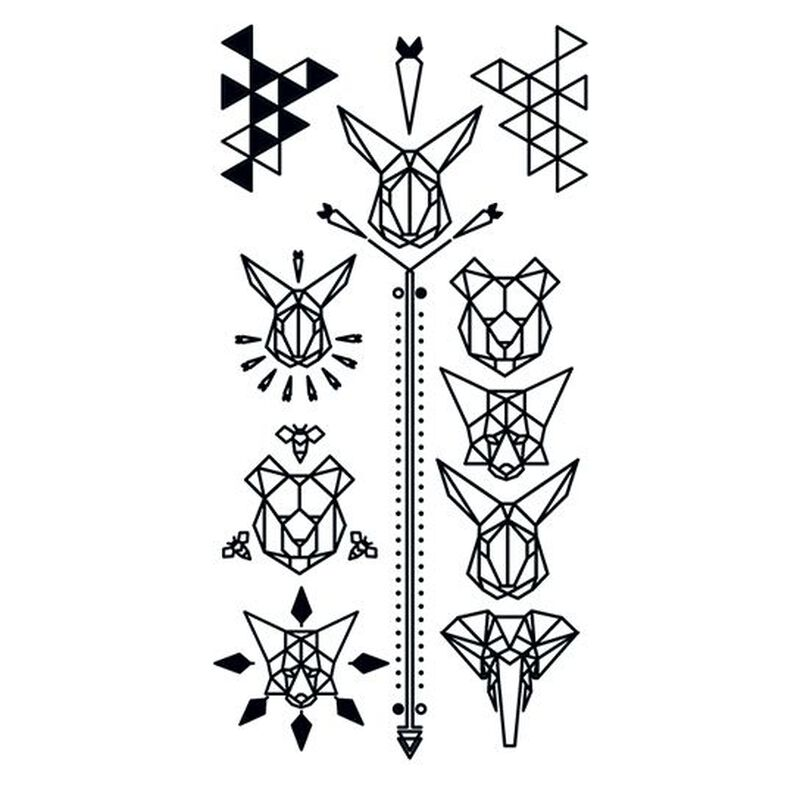 Black Geometric Animal Temporary Tattoo image number null