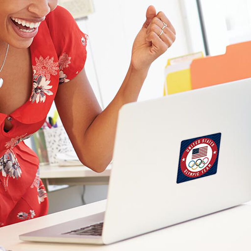team usa olympic team circle sticker on laptop image number null