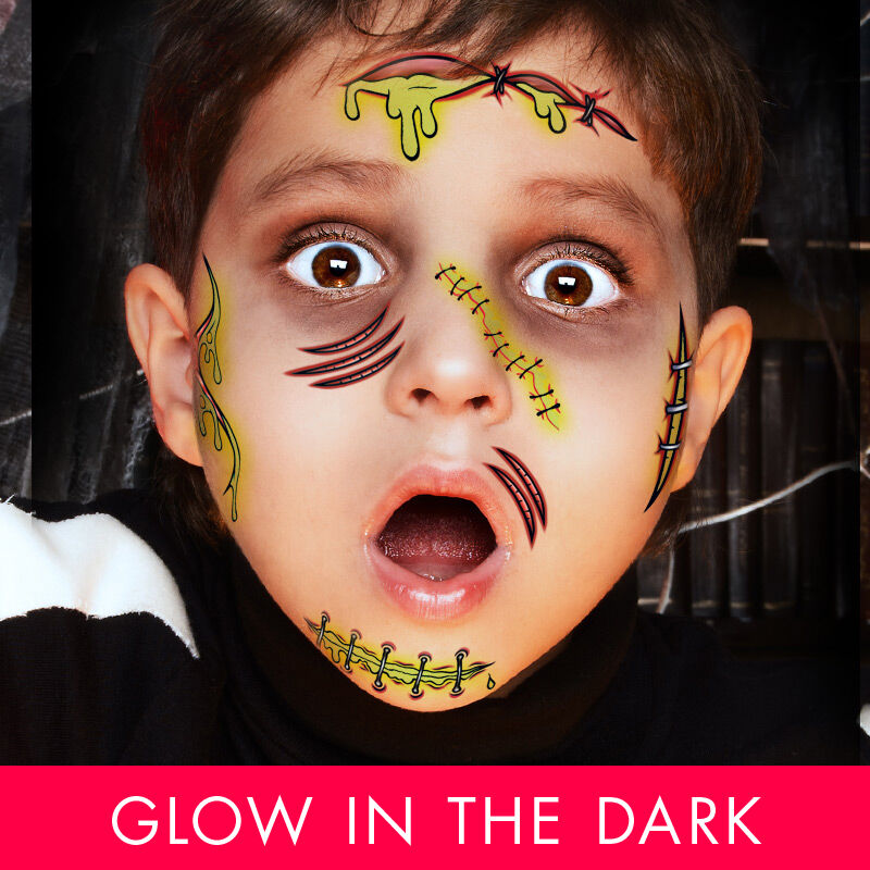 Glow in the Dark Monster Kids Costume Tattoo image number null