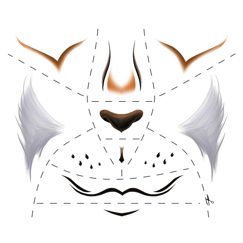 Animal Fox Face Eyes Costume Tattoo image number null