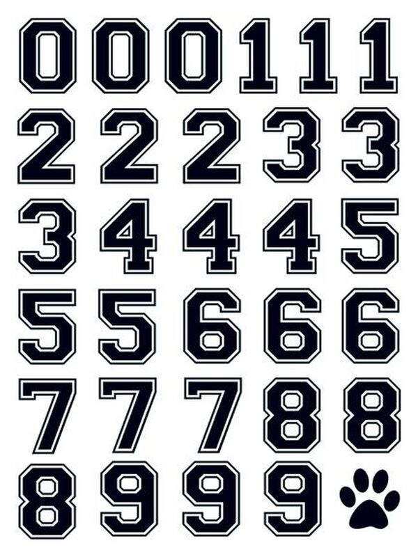 Black Sports Numbering Temporary Tattoo image number null