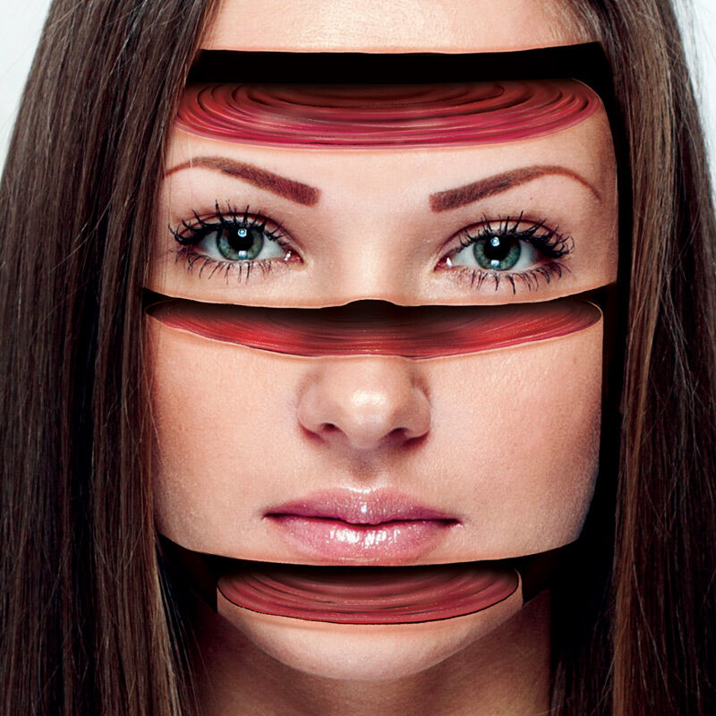 Sliced Face Optical Illusion Costume Tattoo image number null