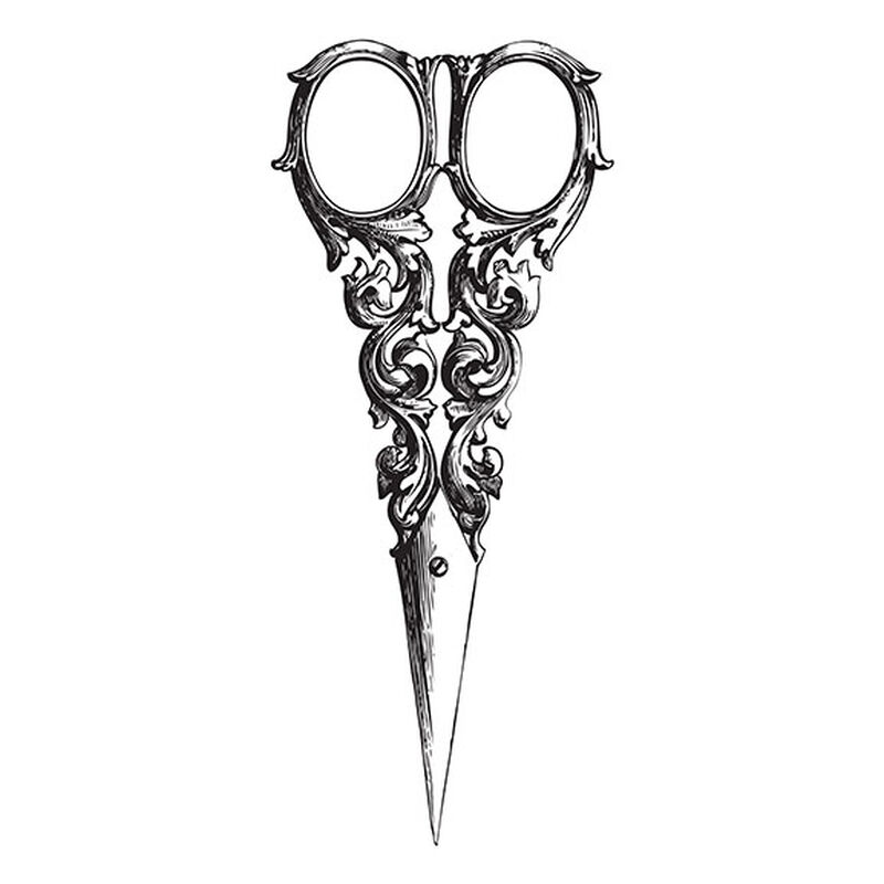 Fancy Vintage Scissors Temporary Tattoo image number null