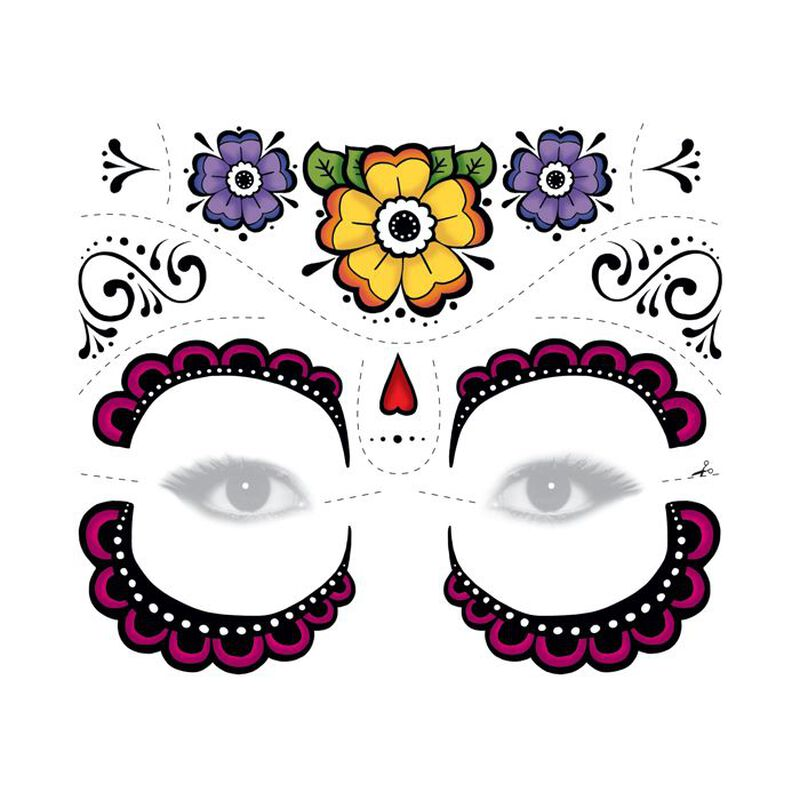Day of the Dead Floral Temporary Tattoo image number null