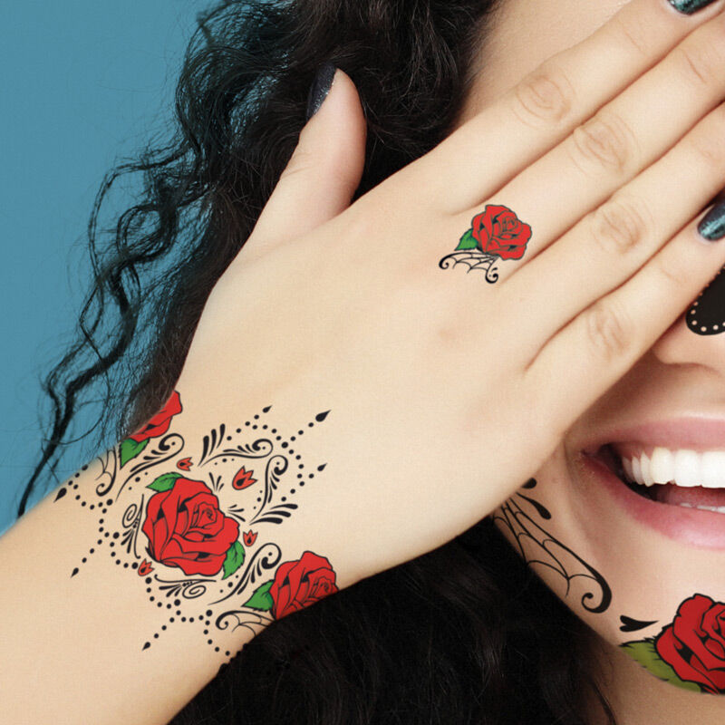 Red Rose Sugar Skull Accessory Costume Tattoo image number null