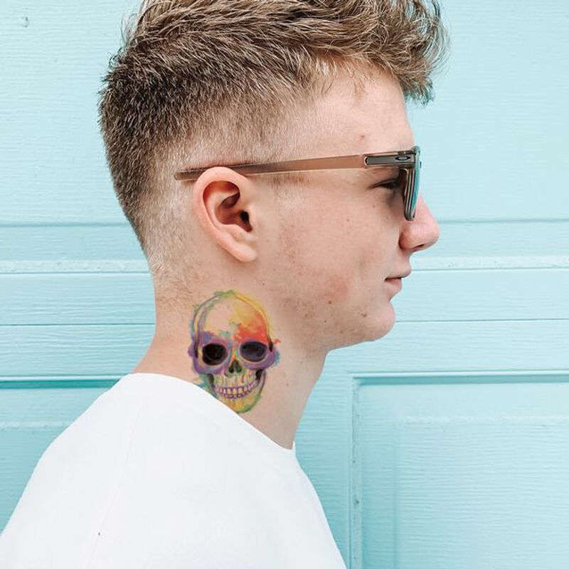Watercolor Skull Temporary Tattoo image number null