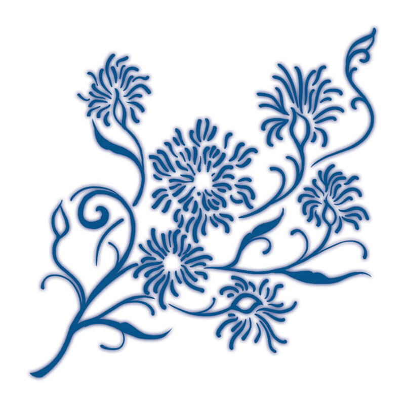 Classic Blue Dainty Flowers Temporary Tattoo image number null