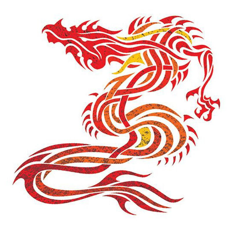 Fiery Dragon Metallic Temporary Tattoo image number null