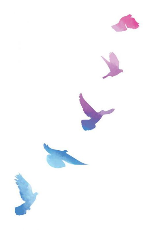 Watercolor Birds in Flight Temporary Tattoo image number null