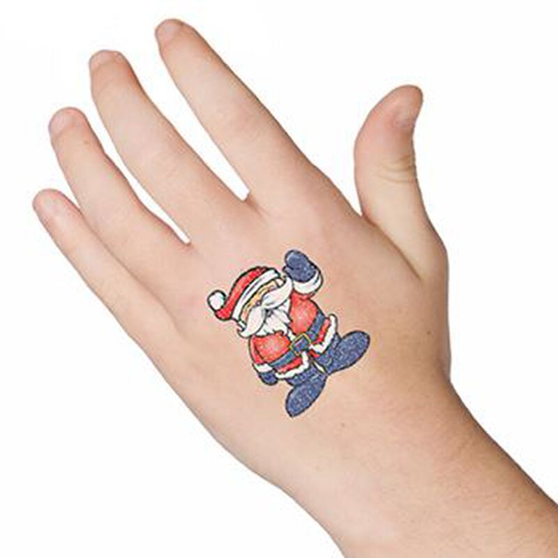 Glitter Waving Santa Temporary Tattoo image number null