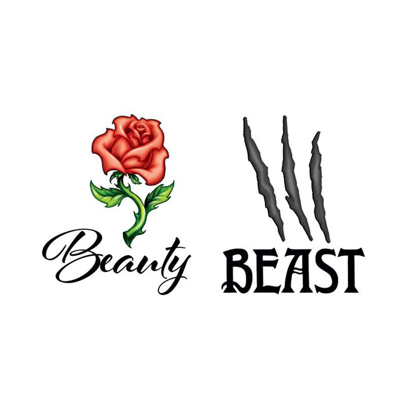 Beauty and Beast Couples Temporary Tattoo image number null