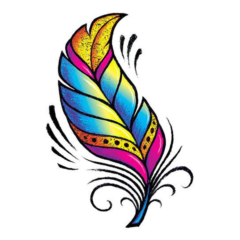 Radiant Feather Color Metallic Temporary Tattoo image number null