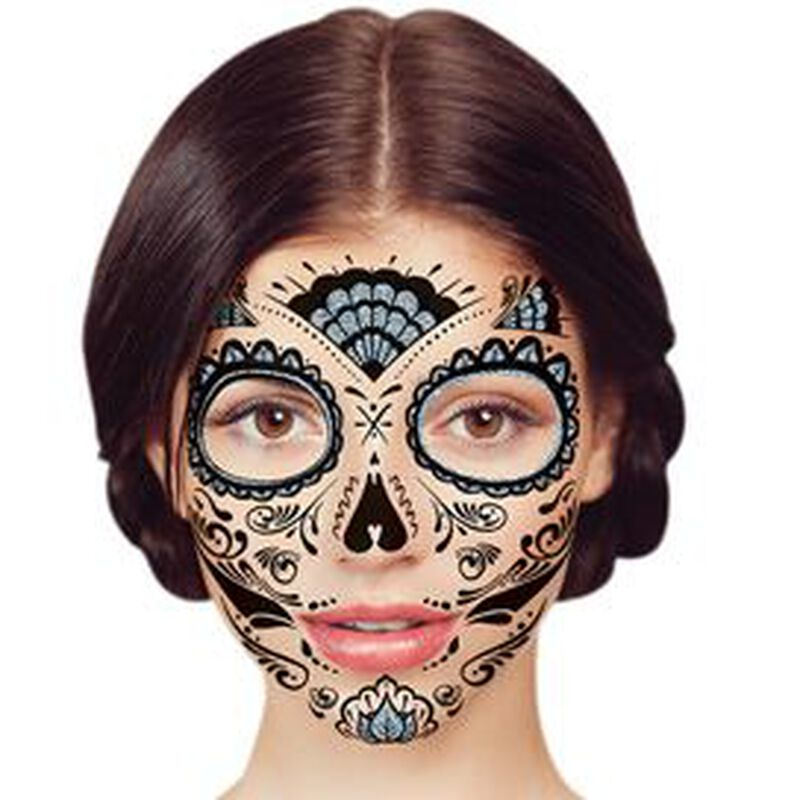 Glitter Day of the Dead Face Temporary Tattoo image number null