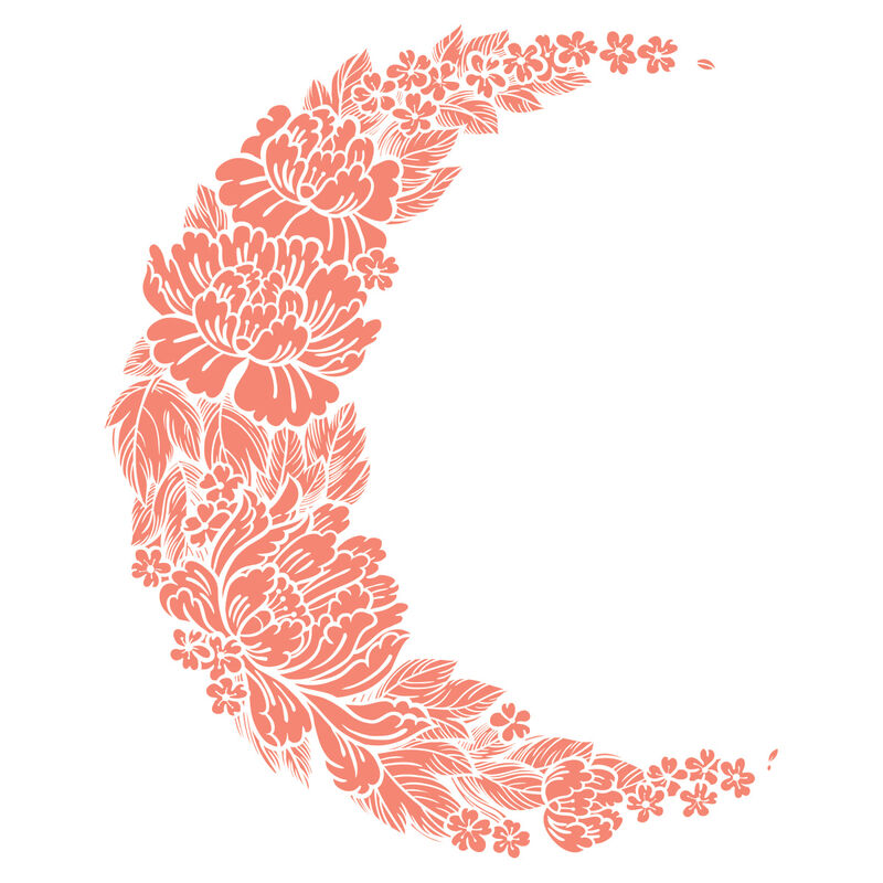 Coral Flower Crescent Moon Temporary Tattoo image number null