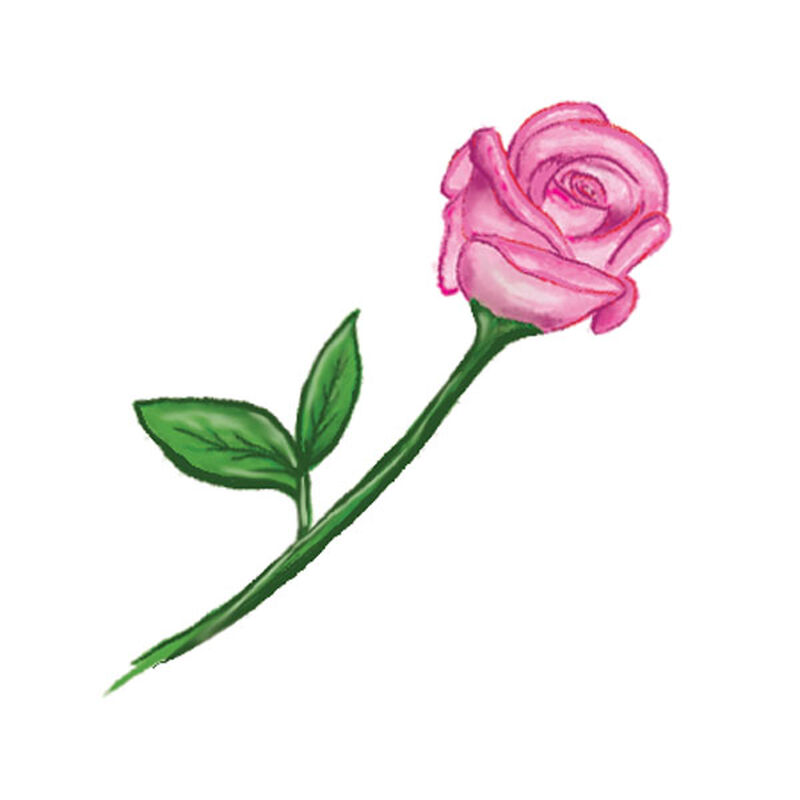 Single Pink Flower Stem Temporary Tattoo image number null