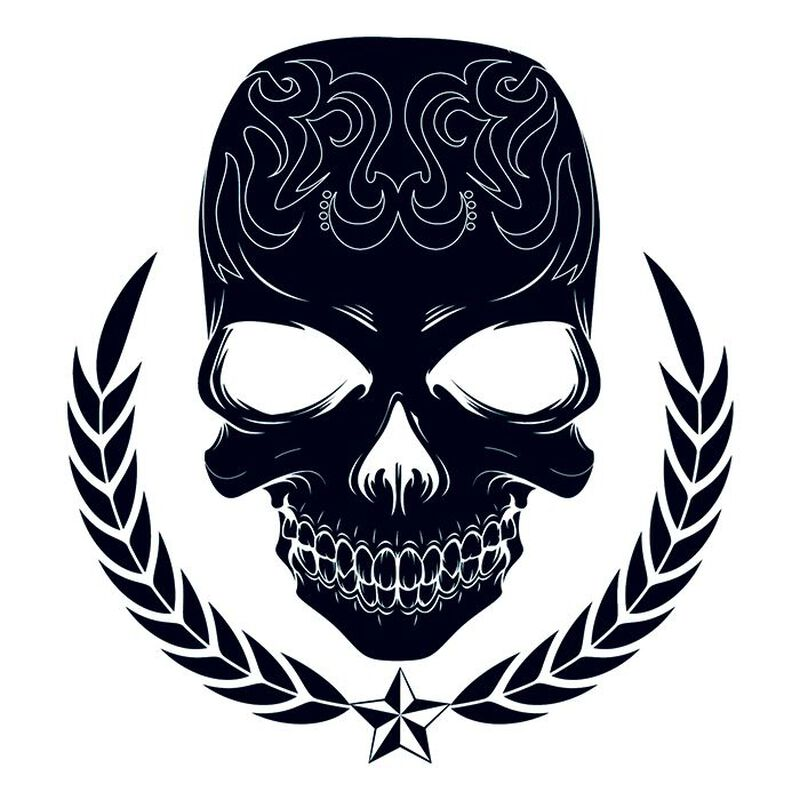 Large Tribal Skull Temporary Tattoo image number null