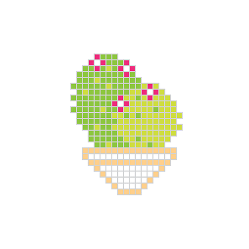 Pixel Cactus with Red Flowers Temporary Tattoo image number null
