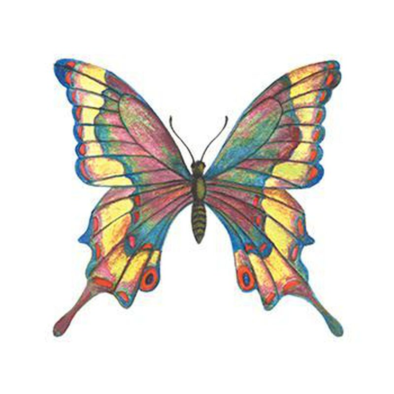 Detailed Stained Glass Butterfly Temporary Tattoo image number null