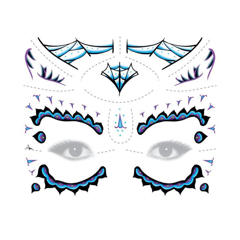 Day of the Dead Blue Temporary Tattoo image number null